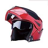 YXDDG Motorrad-modulare integralhelm Flip up dual Visier Sun Shield schutzhelm,Hochglanz schwarz + 2 visiere-Rot B 54-60cm