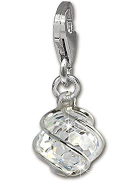 SilberDream 925 Sterling Silber Charm Kugel weiß Stein Charms Anhänger für Armband Kette oder Ohrring FC250W