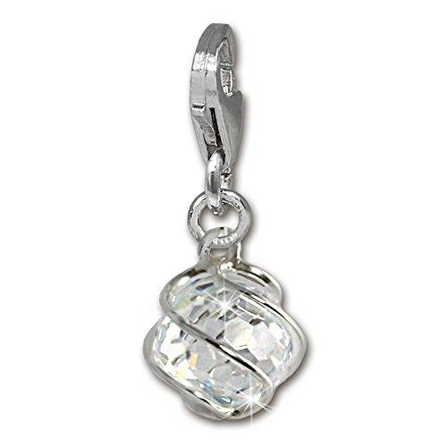 SilberDream 925 Sterling Silber Charm Kugel weiß Stein Charms Anhänger für Armband Kette oder Ohrring FC250W (Weiße Kugel)
