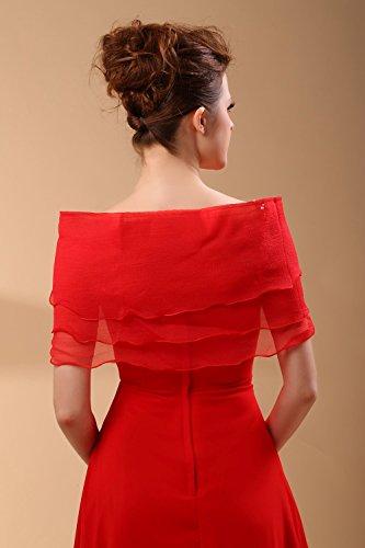 MicBridal®écharpe/Châle/Foulard/Etole Wrap Stole en mousseline pour robe de soirée/bal/marriage femme Rouge