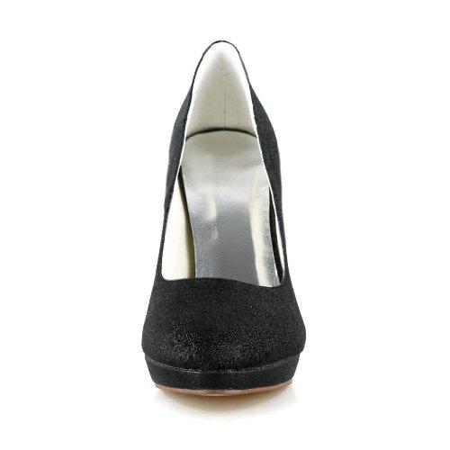 Jia Jia Wedding 3701K chaussures de mariée mariage Escarpins pour femme Noir