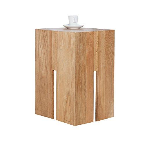 Massiver Hocker CASTLE 50 cm Wildeiche natur geölt Massivholz Beistelltisch Holztisch Fußhocker