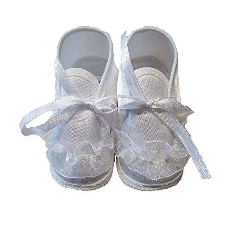 Taufschuhe Weiß Babyschuhe Baby Taufe Geschenk für Jungen oder Mädchen gr. 16-17-18 Neu Sohle: 10,5 cm Mädchen 3