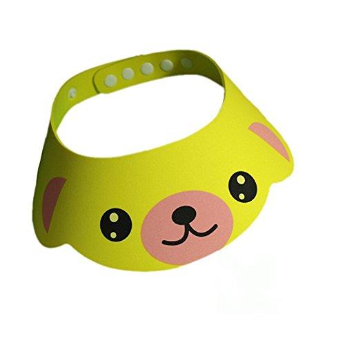 SZTARA Baby Kids Bath Shampoo Protect Hat Cartoon Children Adjustable Soft Bathing Shower Cap Sunshade Shield Visor Yellow