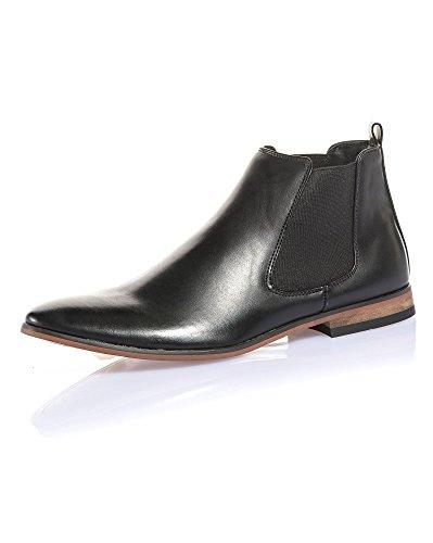 BLZ Jeans - Boots Homme Noir Effet Cuir avec élastique