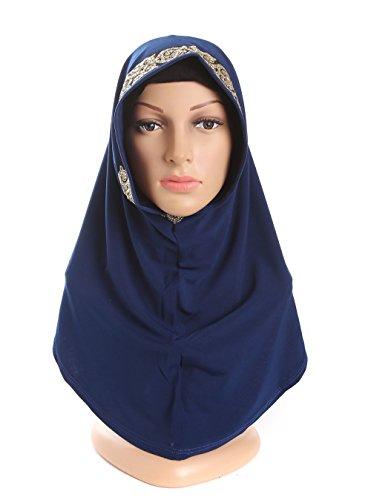 Feehan Frauen Moslemische weisekopfschal hijab,Muslim Hijab bestreuen Gold Perle Chiffonschal Schal weibliches muslimisches Kopftuch.Maße: 65 * 22cm (Weiblich Marine Kostüme)