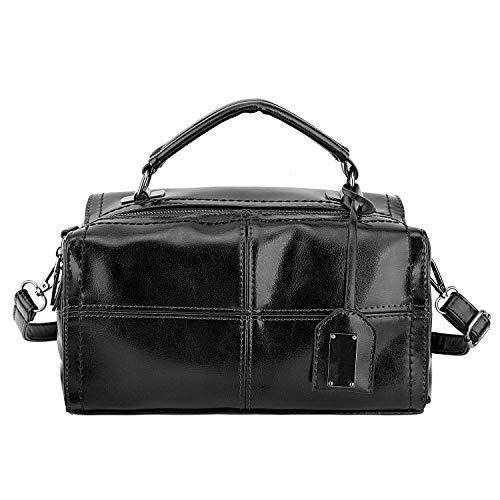 Luxspire Women Elegant Handbag, Oil Wax PU Leather Satchel, Lady Cross body Shoulder Bag, Stylish Tote Bag for Working, Shopping, Travelling, Black