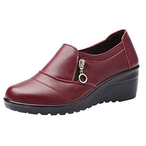 Breathable Strand Sandalen Schnalle Casual Wedges Schuhe Hang mit offenem atmungsaktiv Wort weiblichen Ballerinas(Rot,36EU) ()