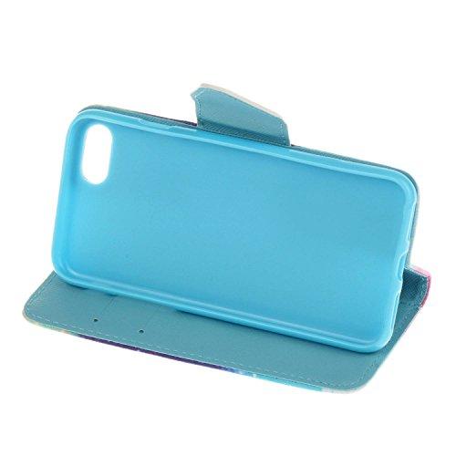 Guran® PU Leder Tasche für iPhone 7 (4.7 Zoll) Smartphone Flip Deckung Stehen Funktion und Karte Slot Case-blumen color12