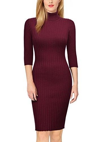 Miusol Damen 3/4 Aermel Wollkleid hoher Kragen Figurbetontes Strickkleid Pullover Kleid Weinrot Gr.46/48/L - 4
