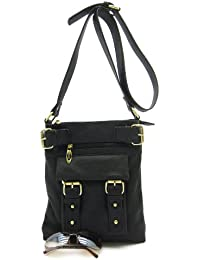 Designer Styled Black Large Faux Leather Messenger Cross Body Bag With Buckle Detail By The Chic Shop Co.