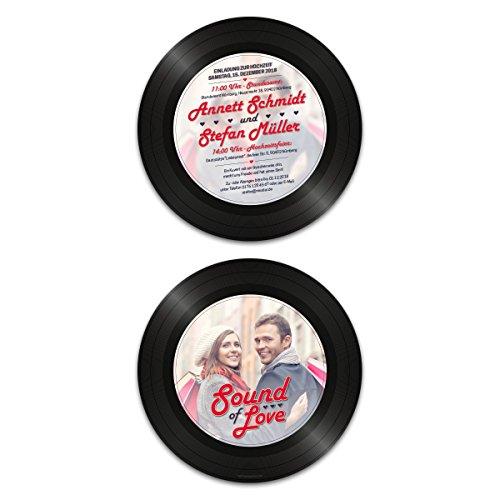 10 x Runde Hochzeitseinladungen Einladungskarten Hochzeit - Schallplatte Sound of Love