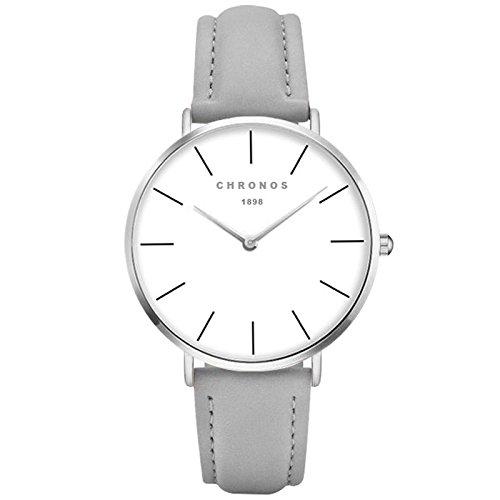XLORDX Classic Damen Ultra Dünne Elegant Analoge Quarz Armbanduhr Quarzuhr und Klassisch Grau Leder Silber