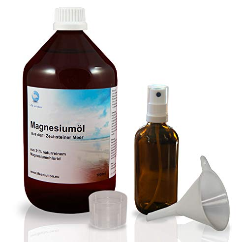 Zechstein Magnesiumöl 1000ml +Sprühflasche +Trichter +Messbecher - Magnesium-Öl