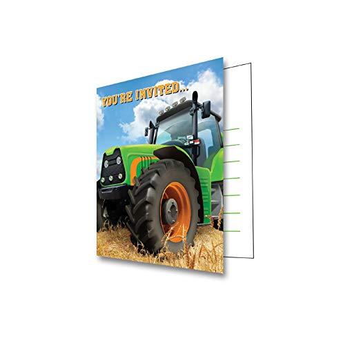 16-teiliges Einladungskarten-Set * TRAKTOR * für den Kindergeburtstag und Motto-Party // mit 8 Einladungen und 8 Umschlägen // Set Invitations Geburtstag Kinder Motto Bauernhof Trekker Farm Scheune