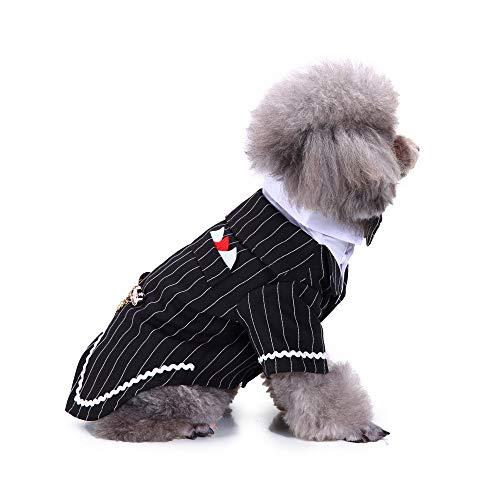 ELLANM Haustier Hund Kostüm Dapper Suit Pet Kleidung Hund Anzug Haustier liefert Hund Kleidung Kleid Smoking Hochzeitskleid, Gestreiften Schwalbenschwanz Mantel, ()