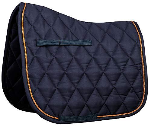 Harry's Horse Schabracke Next diagonale Steppung Einfassung VS + DR (Warmblut DR, Navy-Orange) (Schabracke Horse Orange)
