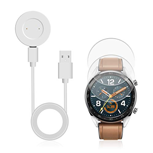 Ladegerät für Huawei Watch GT,AIEVE Ladestation Ladegeräte USB Ladekabel Dockingstationen & 2 Stück Folien Schutzfolie Gehärtetem Glasfolie für Huawei Watch GT Honor Magic Watch (Weiß)
