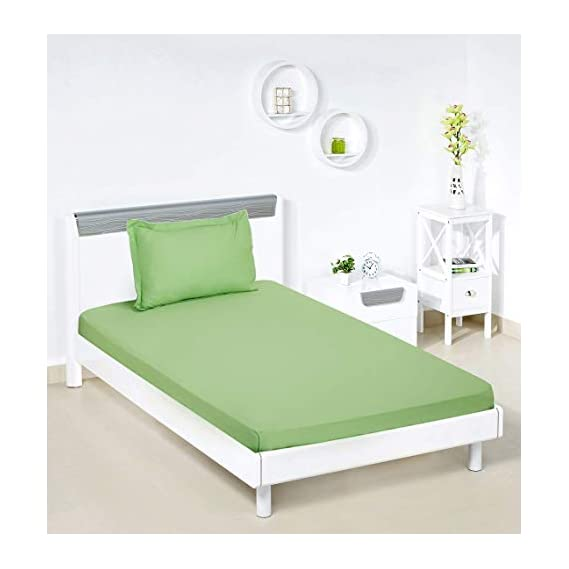 Amazon Brand - Solimo Solid 144 TC 100% Cotton Single Bedsheet with 1 Pillow Cover