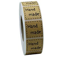 "Hybsk 1"" Inch Square Natural Kraft Handmade Stickers with Black Font Total 1,000 Adhesive Labels Per Roll"