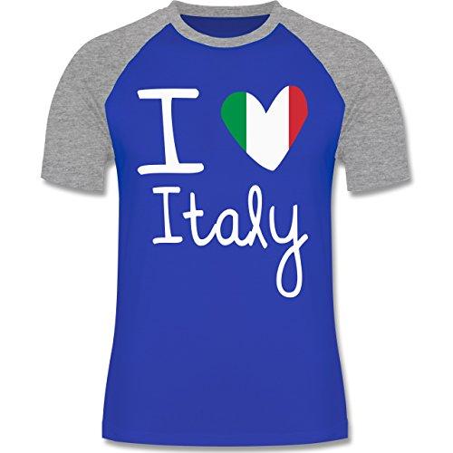 EM 2016 - Frankreich - I love Italy - zweifarbiges Baseballshirt für Männer Royalblau/Grau meliert