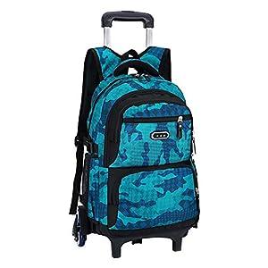 Meijunter Trolley Mochila Escolar con Rueda – Rodante Bolsa de Hombro para Kids Estudiantes Niños Muchachos Chicas(Azul Claro)