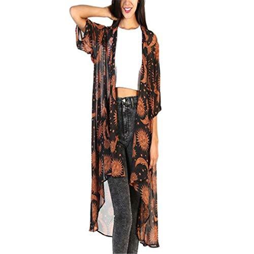 CUTUDE Jacke Damen Chiffon Langarm Bluse Kimono Schal Top Herbst Blumenmuster Cardigan Lose Mantel