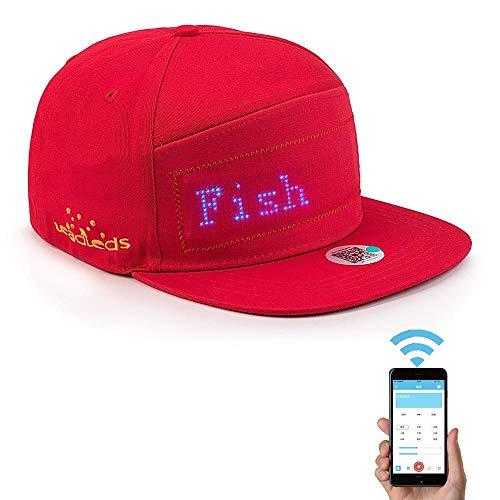 Geggur LED Leuchten Hut,Cool Display Nachricht Cap Leuchtet Baseball-Hut Mobile APP-Steuerung Animierte Kappe für Party Club Weihnachten Halloween (Text, Musik, Bild, Zeichnung)(Rot) (Für Japanische Telefon Charms)