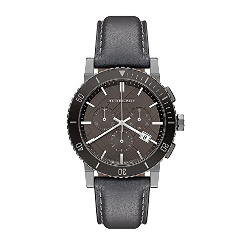 Burberry BU9384 42mm Stainless Steel Case Grey Leather Anti-Reflective Sapphire Men's Watch