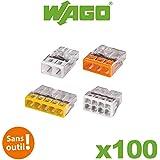 Wago - Flacon de 100 mini bornes de connexion automatique 2, 3, 5 et 8 fils S2273