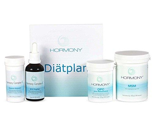 Hormony® Diät Komplett Set 3 Wochen: Tropfen, OPC, MSM und Vitamin Kapseln & Diätplan