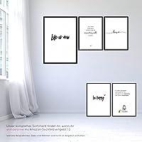 3er Set: love - smile - happiness - Kunstdrucke auf wunderbarem Hahnemühle Papier DIN A4 -ohne Rahmen- schwarz-weißes Bild Poster zur Deko im Büro Wohnung als Geschenk Mitbringsel zum Geburtstag etc.