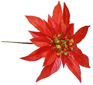 10 Stems Plastic Double Poinsettias Christmas Floristry Decorative Pick