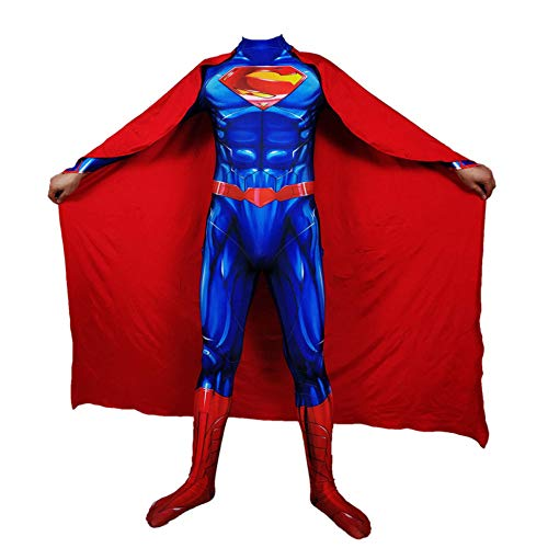 Superman Kostüm Kind Erwachsener Cosplay Kostüm Superhelden Halloween Mottoparty Onesies 3D Druck Strumpfhosen,Women-XXL