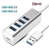 ZYX 4 Port USB HUB 3.0 mit Netzteil OTG HUB USB Splitter mit Micro-Lade-Schnittstelle Port Für PC Laptop Zubehör (2 Stück),Silver,2.0