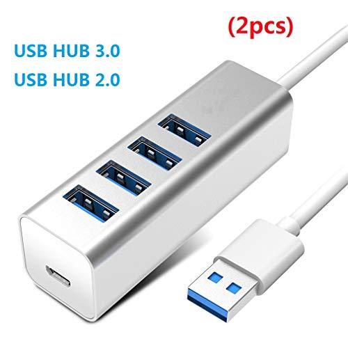 ZYX 4 Port USB HUB 3.0 mit Netzteil OTG HUB USB Splitter mit Micro-Lade-Schnittstelle Port Für PC Laptop Zubehör (2 Stück),Silver,3.0