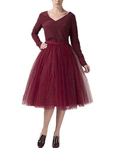 Clearbridal Damen Tutu Rock Kleid Tüllrock Prinzessin Ballettrock 12021 Burgund Größe 5XL