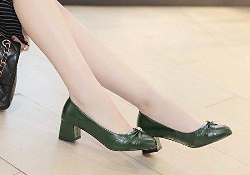 Chaussures Pour Femmes Grandes Chaussures Simples À Talon Moyen Avec Talon Moyen Vert Diamant
