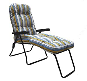 Garden Patio Sun Lounger Multi Position Chair with Footrest and Striped Cushion