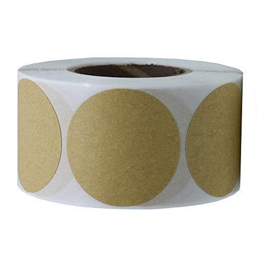 Tile & sticker 5,1 cm in carta kraft marrone dot etichette | 500 adesivi rotondi per rotolo, adesivo permanente (50,8 mm)
