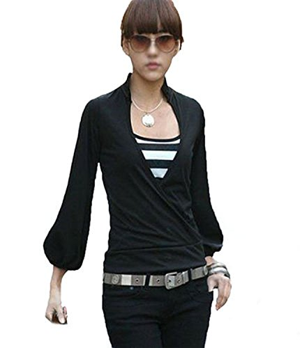 Mississhop Amri Japan Style Damen Wickelbluse Bluse 3/4 arm Tunika Longshirt mit Stehkragen Shirt Schwarz L