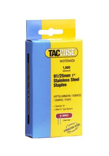 Tacwise 1071 Boîte de 1000 Agrafes divergentes à couronne étroite en Acier Inoxydable 25 mm Type 91