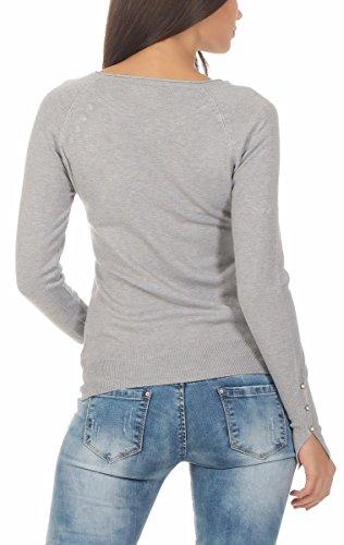 10882 Fashion4Young Damen Feinstrick Pullover Strickpullover Langarm Rundhals Glitzersteinchen Grau
