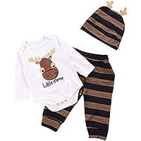 �� Zolimx Ropa de Bebé Recién Nacido Imprimir Mangas Largas Mameluco + Pantalones Baratos + Diadema Niños Ropa Trajes Conjuntos (18Meses/ 90CM, Blanco)