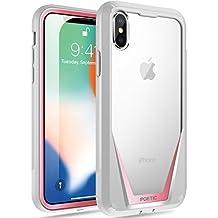 Custodia iPhone X, Custodia Poetica [Protezione antigraffio] [Protezione a 360 gradi] Custodia ibrida lucida con custodia piena con protezione integrata per Apple iPhone X Rosa/grigio