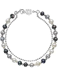 Dower & Hall Orissa Sterling Silver Faceted Bead and Chain Bracelet of Length 18.5cm