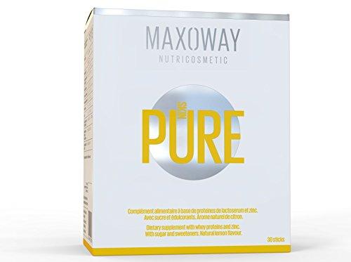 Skin Pure–Integratore alimentare a base di lactoferrine, Super Proteina Bioactive–efficienza scientificamente provata–Potente contro l' acne–Pulsanti–Herpes e arrossamento–Facile da deglutire Gusto caramella Limone–Naturale–Sicuro–senza effetti collaterali