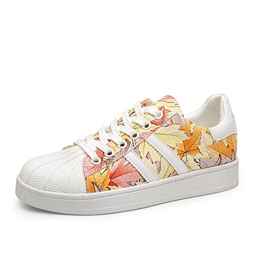 La Shell Donne Toe-Low Top Lace Leisure Pattini Calzatura. Bianco Giallo