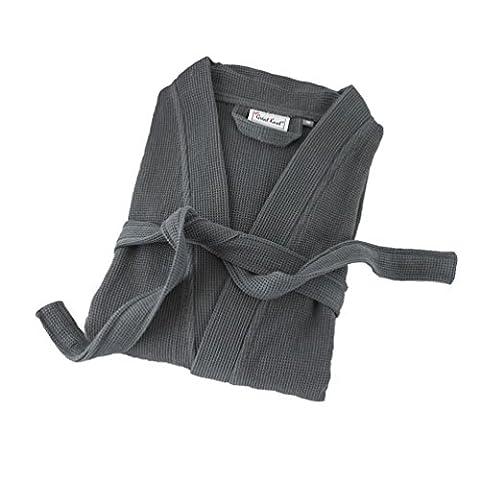 Superbe Noeud, Premium Qualité 100% coton gaufré 240g/m² Peignoir de bain kimono, gris charbon, XL 136 X 127 CM