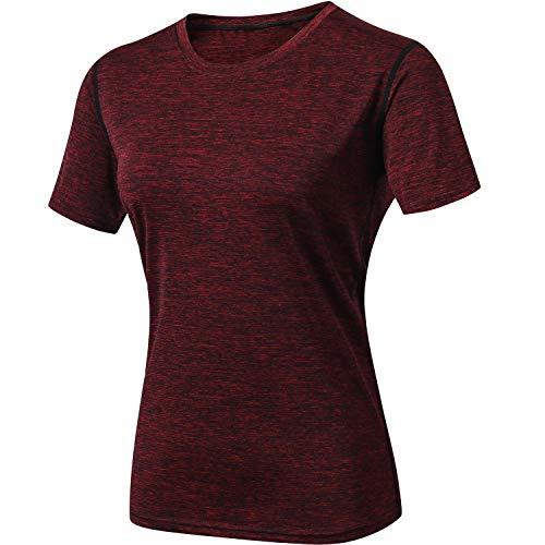 MEETYOO Sportshirt Damen, Laufshirt Kurzarm T Shirts Atmungsaktiv Fitnessshirt Frauen Trainingsshirt Funktionsshirt für Running Jogging Gym